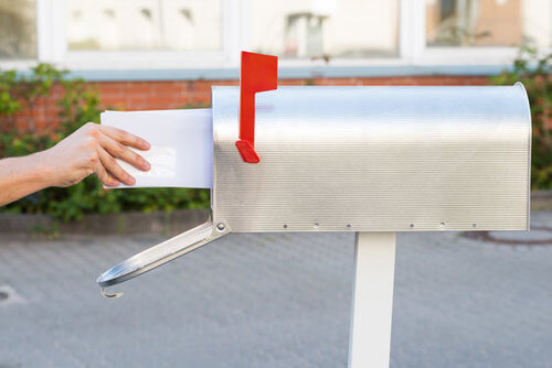 Direct mail piece delivered to mailbox